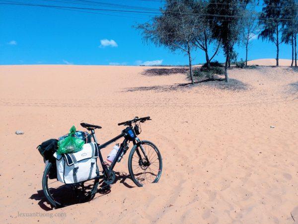 Đồi cát hồng ở Phan Thiết, địa điểm du lịch nổi tiếng và phổ biến.