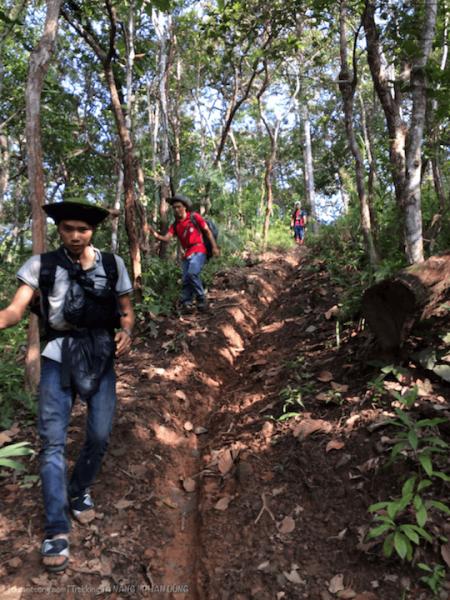 Đổ dốc theo đường mòn về Phan Dũng, toạ độ là: 11.462, 108.597