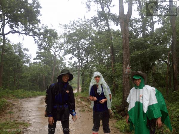 Nhóm gặp dường lớn, mặc áo mưa và tiếp tục di chuyển, toạ độ: 11.428, 108.639