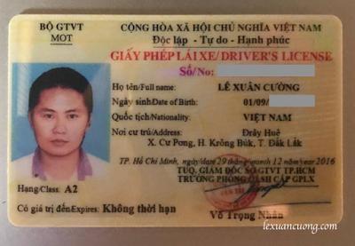 Bằng lái xe máy hạng A2, thẻ nhựa để xin giấy phép lái xe quốc tế