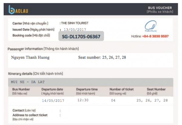 Vé điện tử sau khi đặt vé trên website Baolau.vn sẽ được gửi về email. Nhớ mang vé điện tử này ra quầy vé trước khi khởi hành 30 phút.