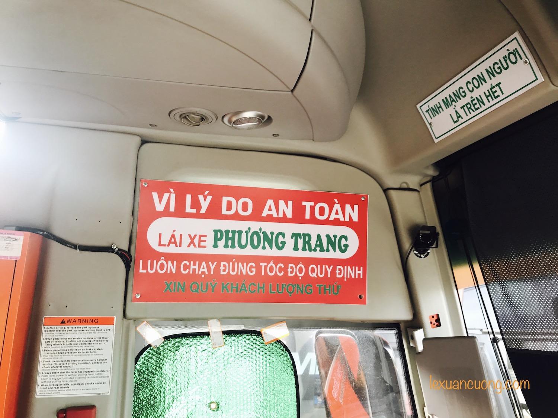 Khẩu hiệu cho tài xế trên Xe khách Phương Trang