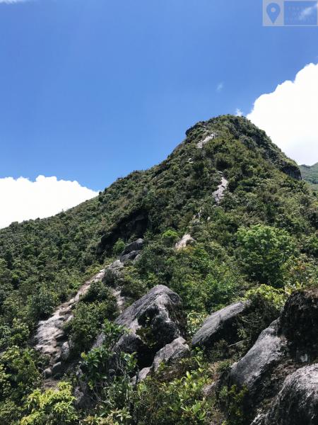 Con đường bằng đá kéo dài từ núi Muối dọc sống núi.