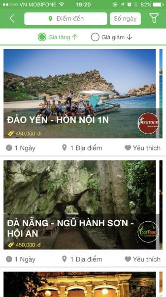 Săn tour giá rẻ trên apps JOCO