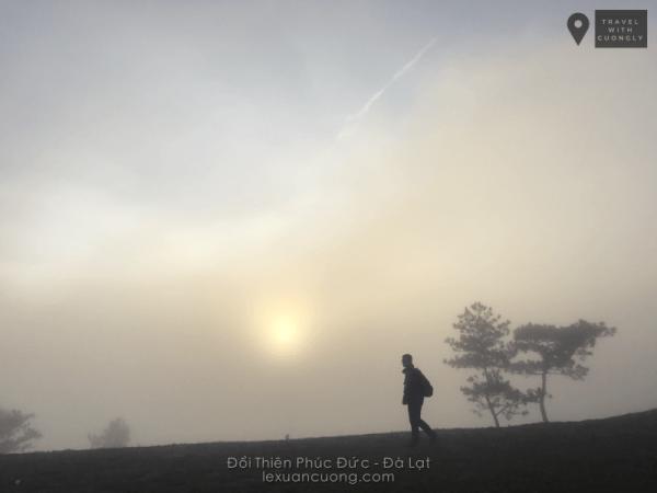 Mặt trời tờ mờ trong sương sớm trên đồi Thiên Phúc Đức, Đà Lạt