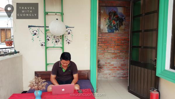 Góc làm việc nhỏ tại tầng 1, Deja Vu homestay, Huế