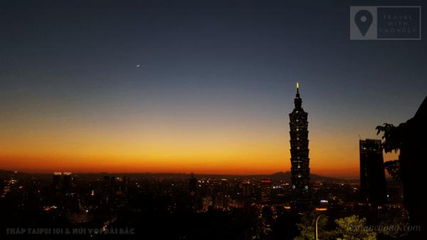 Thành phố và toà tháp Taipei 101 bắt đầu lên đèn.