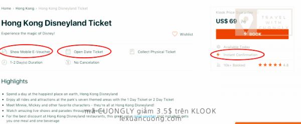 Vé HONGKONG Disney land, mã CUONGLY giảm giá 3,5$ trên KLOOK