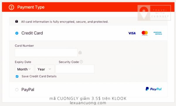 Thanh toán trên KLOOK bằng thẻ tín dụng