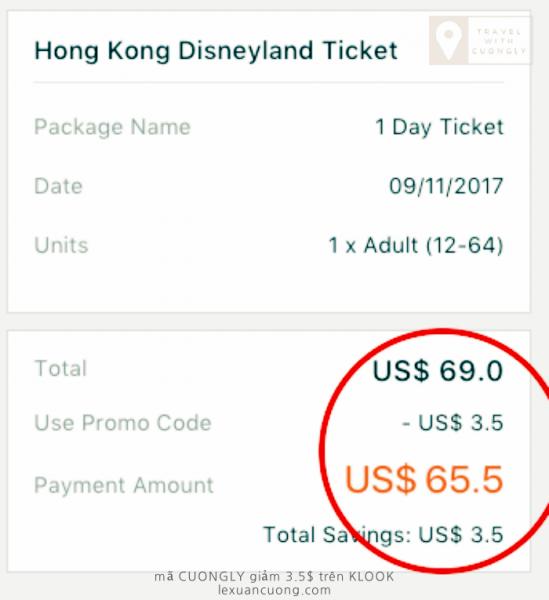 Phần vé đã được giảm 3.5$ khi thanh toán trên KLOOK.