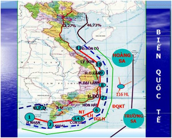 Đường màu đỏ nối 11 điểm từ hòn Nhạn đến Cồn Cỏ gọi là đường cơ sở, đường gạch đứt quãng màu xanh gọi là biên giới quốc gia trên biển (nguồn: Vietnamnet.vn)