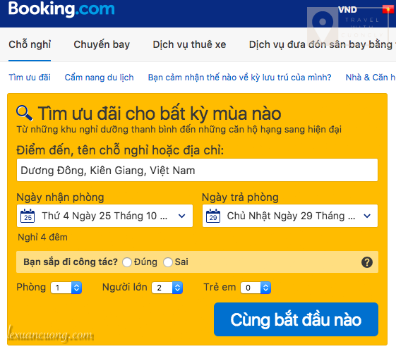 Huong dan dat phong booking.com 02 lexuancuong.com  - Getting a $15 guide when booking hotels on Booking.com on $30