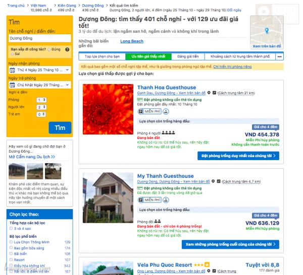 Có thể lọc khách sạn theo nhu cầu (cột bên trái) hay giá từ thấp đến cao (thanh bên trên)