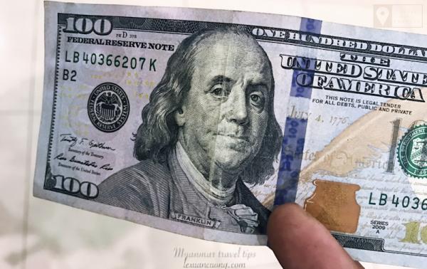 Tiền USD có nếp gấp sẽ không được đổi qua tiền Kyats.