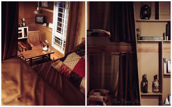 Giường tập thể (dorm) ở ngay phòng khách.