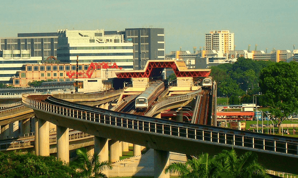 Bạn có thể di chuyển bằng MRT tại Singapore và Malaysia