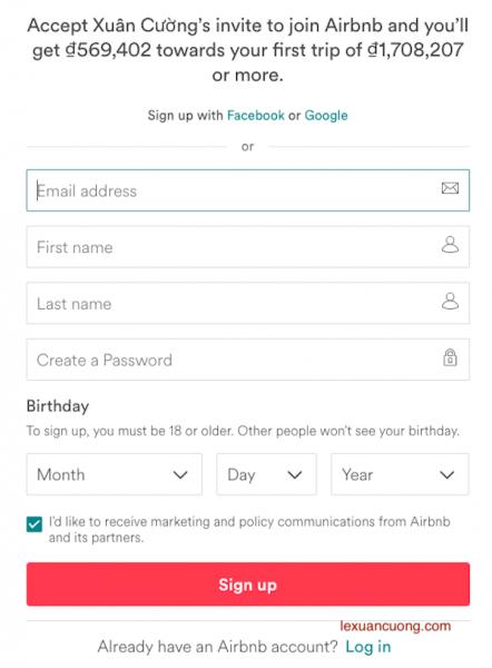 Điền đầy đủ thông tin để đăng ký tài khoản Airbnb.
