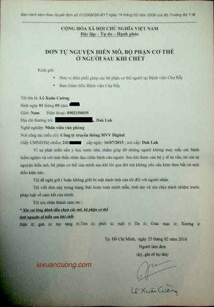 Mẫu đơn đăng ký hiến tạng tại Bệnh viện Chợ Rẫy.