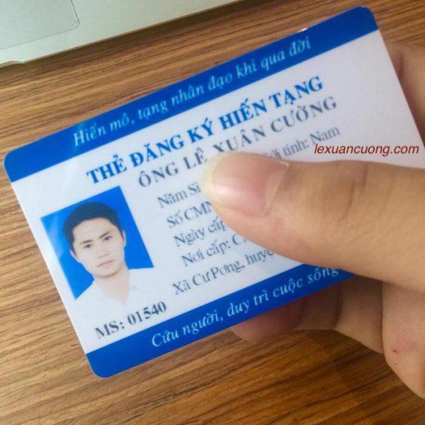 Thẻ hiến tạng được cung cấp cho người đăng ký hiến tạng.