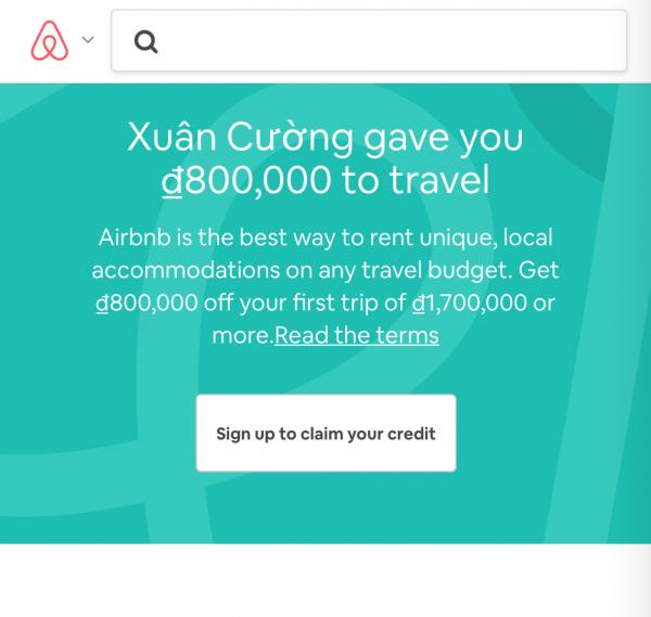 Nhận 800k khi đăng ký Airbnb
