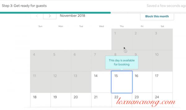 Set up lịch đón khách của bạn, thời gian phòng của bạn trống để đón khác trên Airbnb
