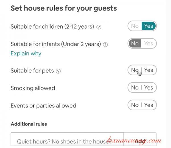 yêu cầu cụ thể với khách từ Airbnb khi thuê nhà bạn là gì?
