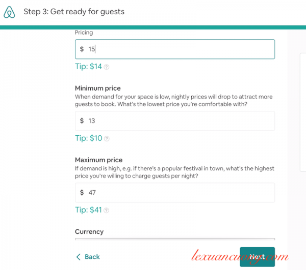 Quy định giá phòng Airbnb của bạn