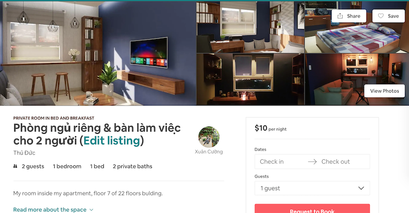 Phòng Airbnb mà Cường đang đăng cho thuê ở Thủ Đức