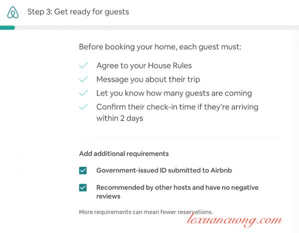 Có thể yêu cầu giấy tờ tuỳ thân & chọn lựa những khách chưa từng có review xấu trên Airbnb.