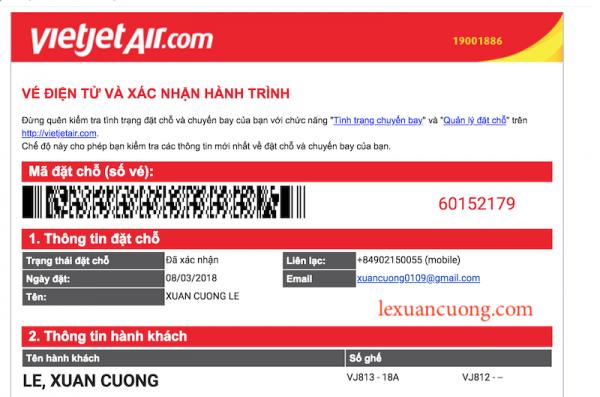 Xác nhận hành trình & có mã đặt chỗ thì mới hoàn thành việc mua vé máy bay.