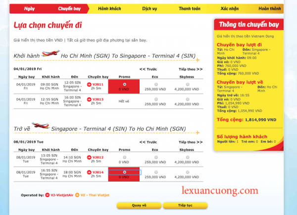 Hướng dẫn đặt vé máy bay giá rẻ 0đ Vietjet Air 3