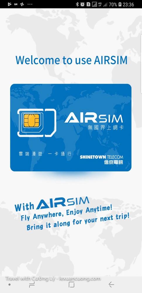 App Airsim - sim 4G sử dụng được ở 100 Quốc gia
