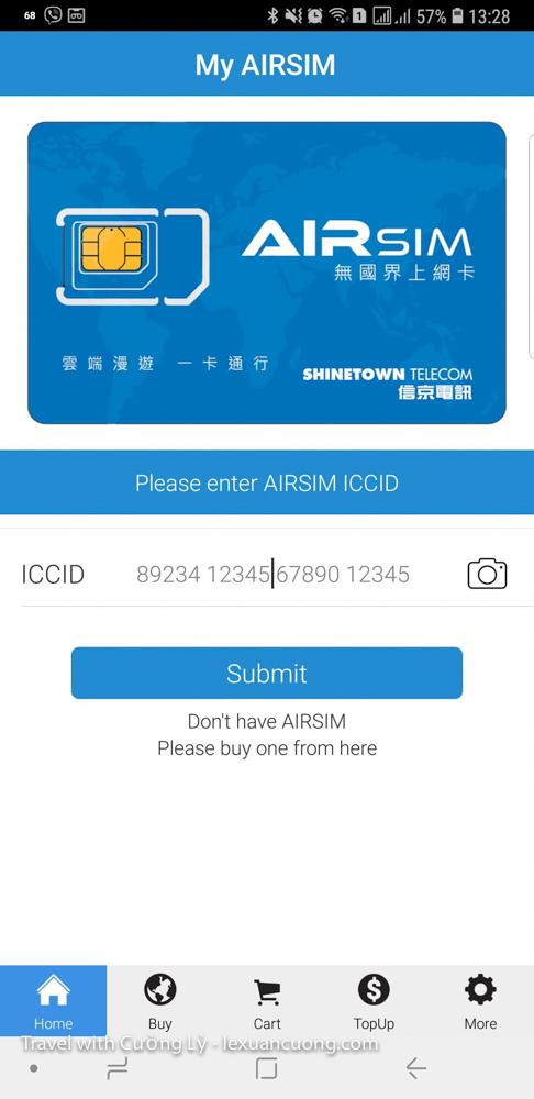 Nhập ID trên Airsim 4G hoặc sử dụng chức năng chụp ảnh mã vach trêm SIM