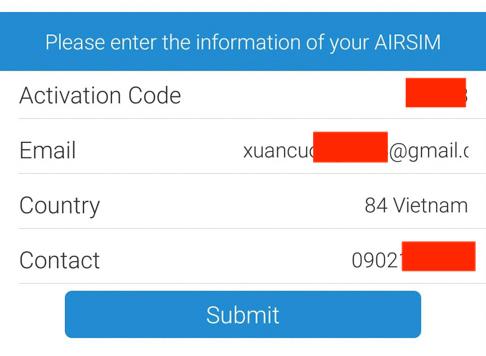 Chọn quốc gia Việt Nam,nhập email, số điện thoại & mã kích hoạt 4 số ở SIM
