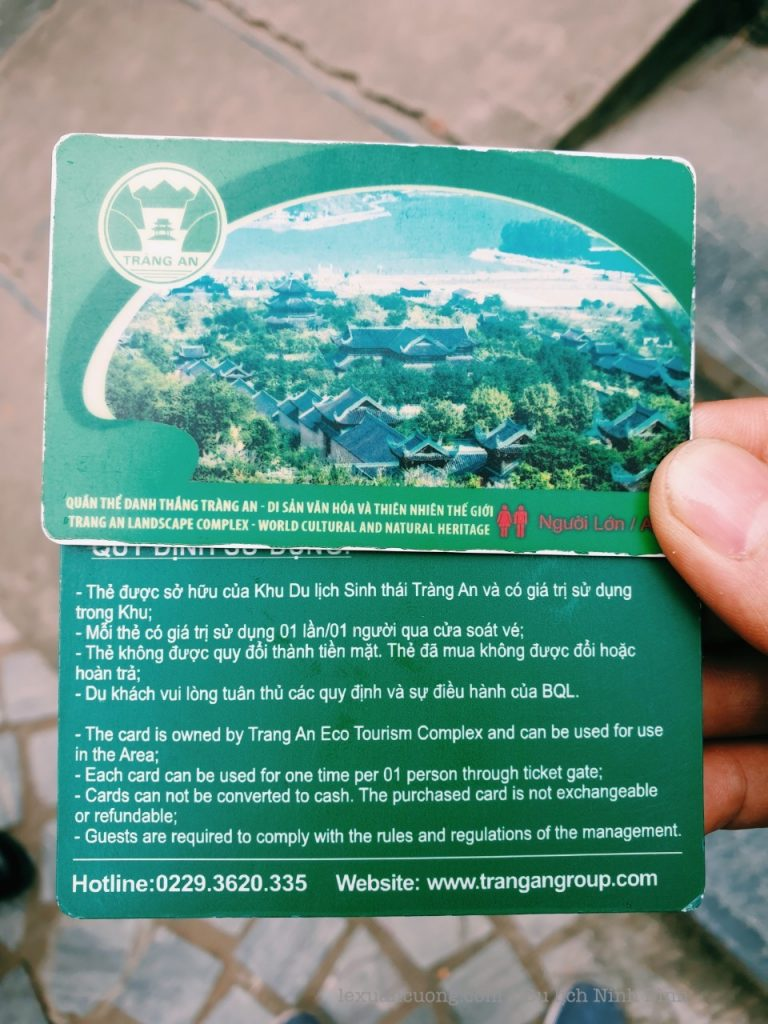 Sightseeing tickets in Trang An. Modern cards with words, just tap through is spent.