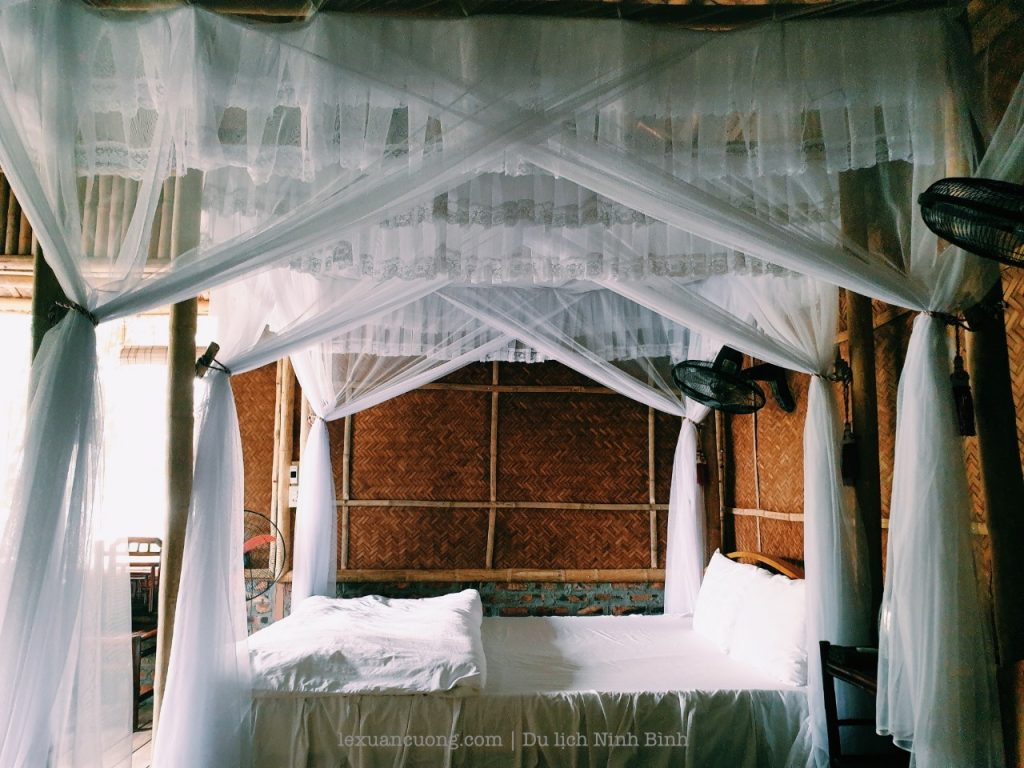 Bed with mosquito screen.