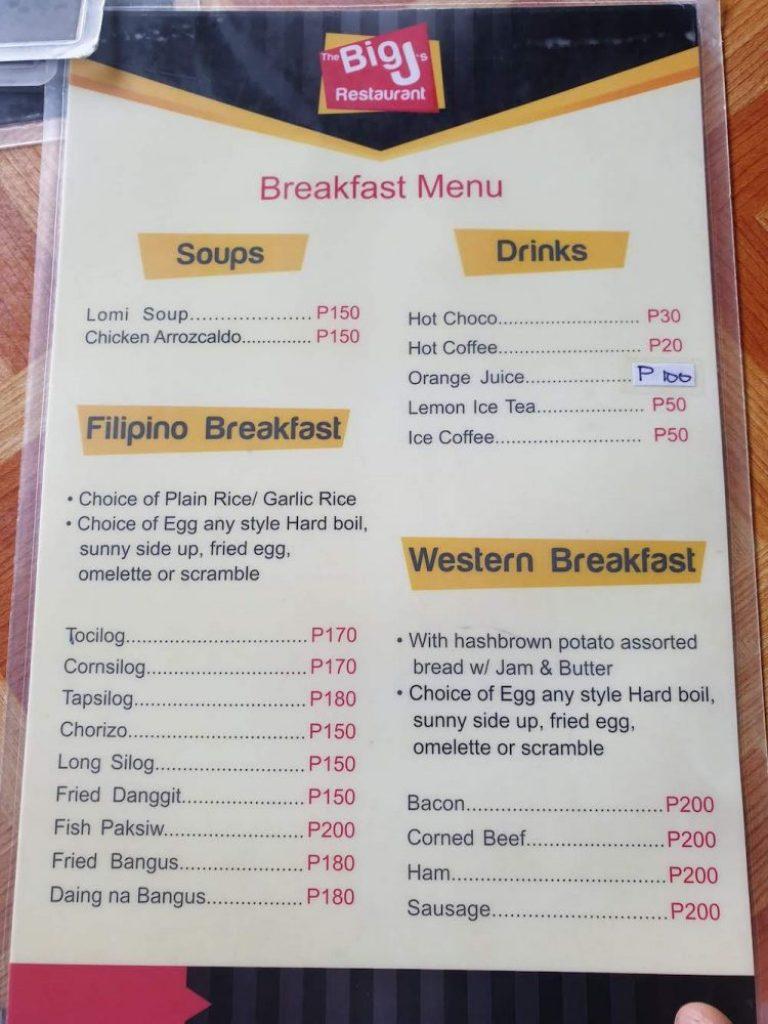 Menu ăn sáng ở Oslob